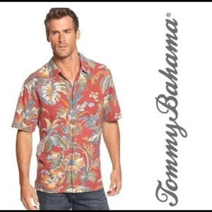 Tommy Bahama Red Laurel Floral Modern Fit Shirt L